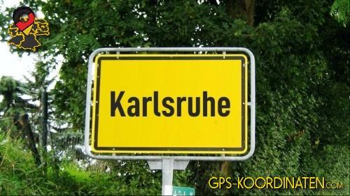 Ortseingangsschilder von Karlsruhe {von GPS-Koordinaten|mit GPS-Koordinaten.com|und Breiten- und Längengrad