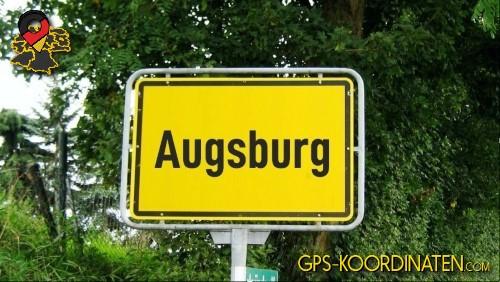 Einfahrtsschild Augsburg {von GPS-Koordinaten|mit GPS-Koordinaten.com|und Breiten- und Längengrad
