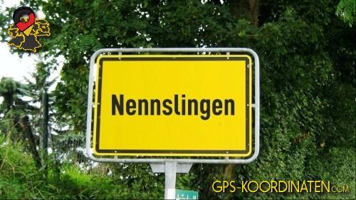 Einfahrtsschild Nennslingen {von GPS-Koordinaten mit GPS-Koordinaten.com und Breiten- und Längengrad
