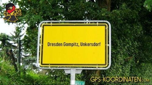 Einfahrtsschild Dresden Gompitz, Unkersdorf {von GPS-Koordinaten|mit GPS-Koordinaten.com|und Breiten- und Längengrad