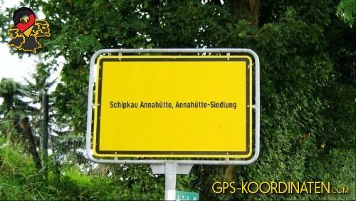 Ortseingangsschilder von Schipkau Annahütte, Annahütte-Siedlung {von GPS-Koordinaten|mit GPS-Koordinaten.com|und Breiten- und Längengrad