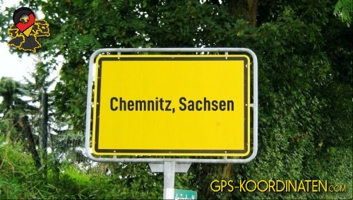 Verkehrszeichen von Chemnitz, Sachsen {von GPS-Koordinaten|mit GPS-Koordinaten.com|und Breiten- und Längengrad