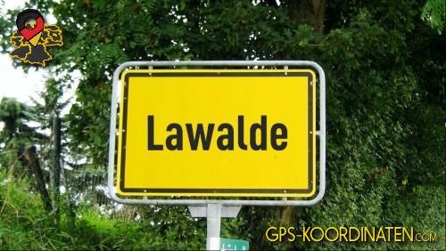 Ortseingangsschilder von Lawalde {von GPS-Koordinaten mit GPS-Koordinaten.com und Breiten- und Längengrad