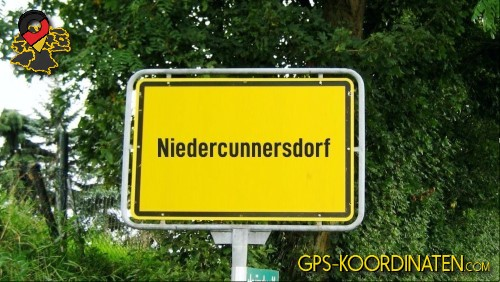 Ortseingangsschilder von Niedercunnersdorf {von GPS-Koordinaten mit GPS-Koordinaten.com und Breiten- und Längengrad