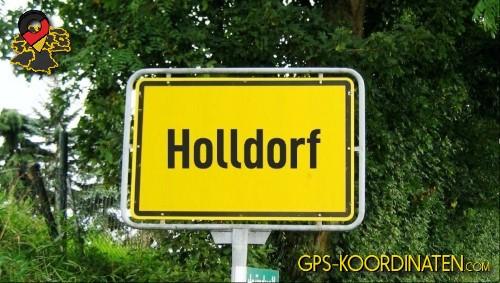 Einfahrtsschild Holldorf {von GPS-Koordinaten|mit GPS-Koordinaten.com|und Breiten- und Längengrad