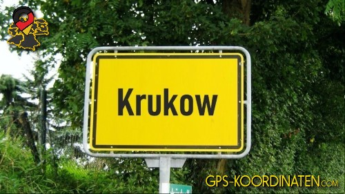 Einfahrtsschild Krukow {von GPS-Koordinaten mit GPS-Koordinaten.com und Breiten- und Längengrad