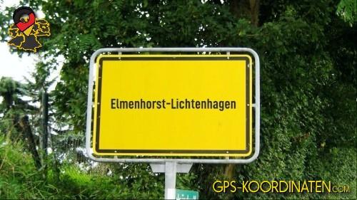 Einfahrtsschild Elmenhorst-Lichtenhagen {von GPS-Koordinaten|mit GPS-Koordinaten.com|und Breiten- und Längengrad