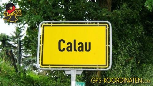 Ortseingangsschilder von Calau {von GPS-Koordinaten|mit GPS-Koordinaten.com|und Breiten- und Längengrad