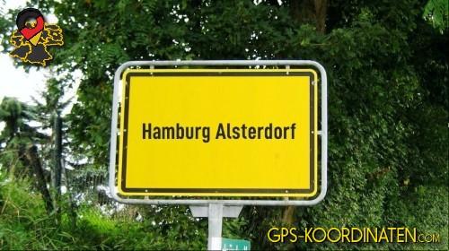 Ortseingangsschilder von Hamburg Alsterdorf {von GPS-Koordinaten|mit GPS-Koordinaten.com|und Breiten- und Längengrad