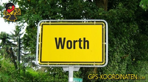 Ortseingangsschilder von Worth {von GPS-Koordinaten|mit GPS-Koordinaten.com|und Breiten- und Längengrad