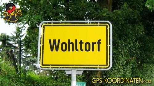 Einfahrtsschild Wohltorf {von GPS-Koordinaten|mit GPS-Koordinaten.com|und Breiten- und Längengrad