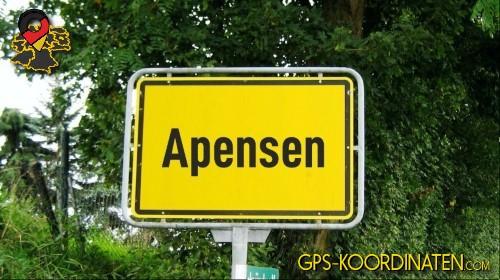 Einfahrtsschild Apensen {von GPS-Koordinaten mit GPS-Koordinaten.com und Breiten- und Längengrad