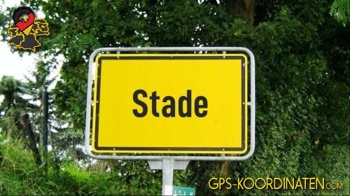Einfahrtsschild Stade {von GPS-Koordinaten|mit GPS-Koordinaten.com|und Breiten- und Längengrad