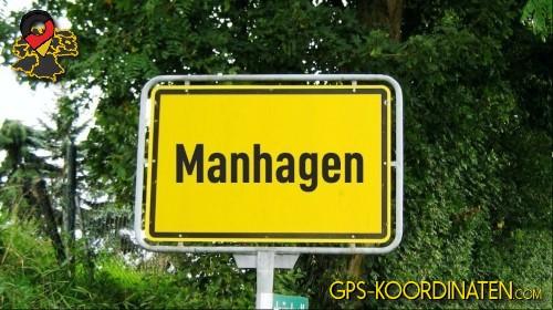 Einfahrtsschild Manhagen {von GPS-Koordinaten|mit GPS-Koordinaten.com|und Breiten- und Längengrad