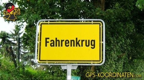 Einfahrt nach Fahrenkrug {von GPS-Koordinaten mit GPS-Koordinaten.com und Breiten- und Längengrad