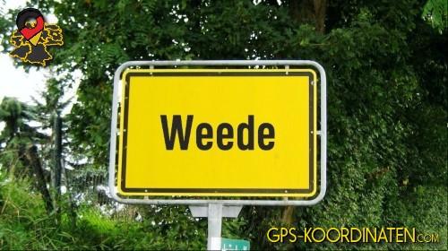 Einfahrtsschild Weede {von GPS-Koordinaten|mit GPS-Koordinaten.com|und Breiten- und Längengrad