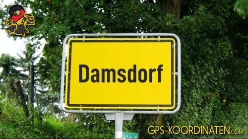 Einfahrtsschild Damsdorf {von GPS-Koordinaten|mit GPS-Koordinaten.com|und Breiten- und Längengrad