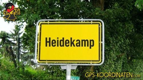 Ortseingangsschilder von Heidekamp {von GPS-Koordinaten|mit GPS-Koordinaten.com|und Breiten- und Längengrad