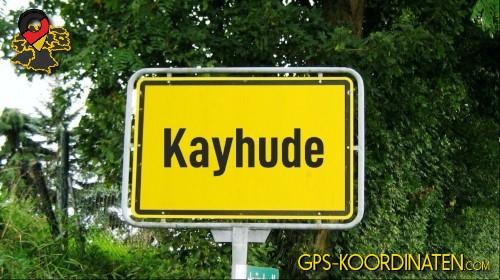 Einfahrtsschild Kayhude {von GPS-Koordinaten|mit GPS-Koordinaten.com|und Breiten- und Längengrad