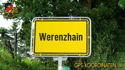 Einfahrtsschild Werenzhain {von GPS-Koordinaten|mit GPS-Koordinaten.com|und Breiten- und Längengrad