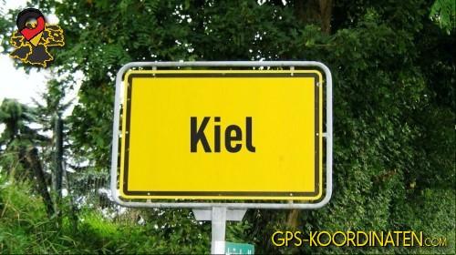 Ortseingangsschilder von Kiel {von GPS-Koordinaten|mit GPS-Koordinaten.com|und Breiten- und Längengrad