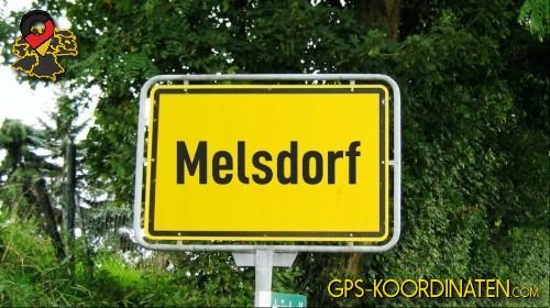 Ortseingangsschilder von Melsdorf {von GPS-Koordinaten mit GPS-Koordinaten.com und Breiten- und Längengrad