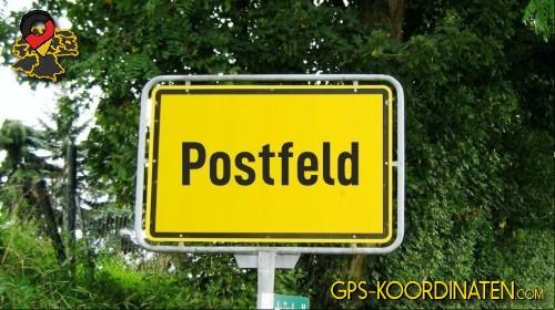 Verkehrszeichen von Postfeld {von GPS-Koordinaten|mit GPS-Koordinaten.com|und Breiten- und Längengrad