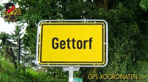 Einfahrtsschild Gettorf {von GPS-Koordinaten|mit GPS-Koordinaten.com|und Breiten- und Längengrad