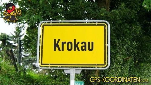 Einfahrtsschild Krokau {von GPS-Koordinaten mit GPS-Koordinaten.com und Breiten- und Längengrad
