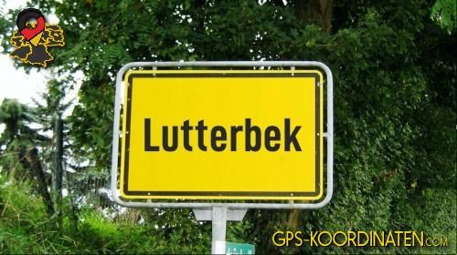 Ortseingangsschilder von Lutterbek {von GPS-Koordinaten mit GPS-Koordinaten.com und Breiten- und Längengrad