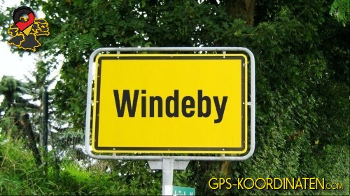 Einfahrtsschild Windeby {von GPS-Koordinaten|mit GPS-Koordinaten.com|und Breiten- und Längengrad