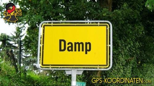 Einfahrt nach Damp {von GPS-Koordinaten mit GPS-Koordinaten.com und Breiten- und Längengrad