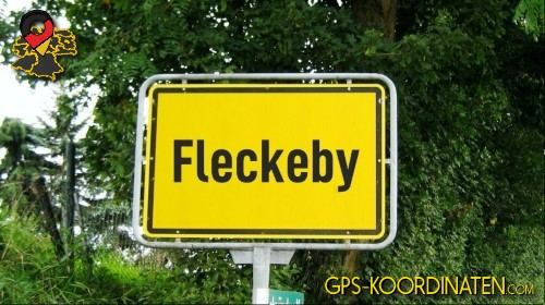 Ortseingangsschilder von Fleckeby {von GPS-Koordinaten|mit GPS-Koordinaten.com|und Breiten- und Längengrad