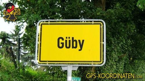 Ortseingangsschilder von Güby {von GPS-Koordinaten mit GPS-Koordinaten.com und Breiten- und Längengrad