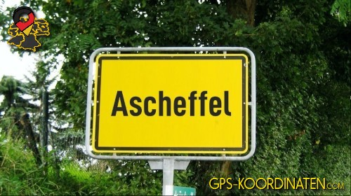 Einfahrtsschild Ascheffel {von GPS-Koordinaten|mit GPS-Koordinaten.com|und Breiten- und Längengrad