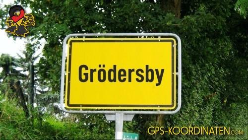 Einfahrtsschild Grödersby {von GPS-Koordinaten mit GPS-Koordinaten.com und Breiten- und Längengrad