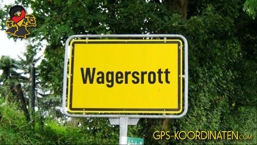 Einfahrtsschild Wagersrott {von GPS-Koordinaten mit GPS-Koordinaten.com und Breiten- und Längengrad