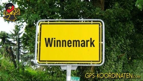 Einfahrtsschild Winnemark {von GPS-Koordinaten|mit GPS-Koordinaten.com|und Breiten- und Längengrad