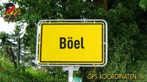 Verkehrszeichen von Böel {von GPS-Koordinaten|mit GPS-Koordinaten.com|und Breiten- und Längengrad
