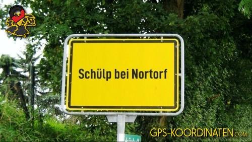 Einfahrtsschild Schülp bei Nortorf {von GPS-Koordinaten|mit GPS-Koordinaten.com|und Breiten- und Längengrad