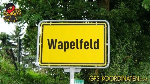 Einfahrtsschild Wapelfeld {von GPS-Koordinaten mit GPS-Koordinaten.com und Breiten- und Längengrad