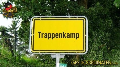 Einfahrtsschild Trappenkamp {von GPS-Koordinaten|mit GPS-Koordinaten.com|und Breiten- und Längengrad