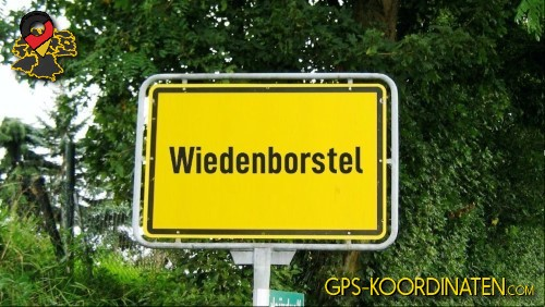 Ortseingangsschilder von Wiedenborstel {von GPS-Koordinaten|mit GPS-Koordinaten.com|und Breiten- und Längengrad