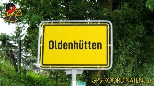 Einfahrtsschild Oldenhütten {von GPS-Koordinaten mit GPS-Koordinaten.com und Breiten- und Längengrad