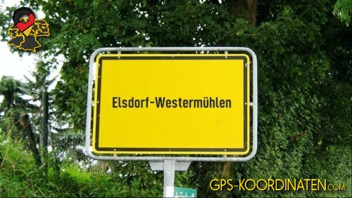 Einfahrt nach Elsdorf-Westermühlen {von GPS-Koordinaten|mit GPS-Koordinaten.com|und Breiten- und Längengrad