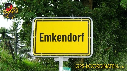 Ortseingangsschilder von Emkendorf {von GPS-Koordinaten mit GPS-Koordinaten.com und Breiten- und Längengrad