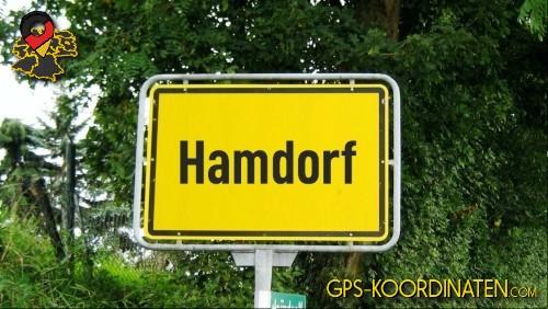 Ortseingangsschilder von Hamdorf {von GPS-Koordinaten|mit GPS-Koordinaten.com|und Breiten- und Längengrad