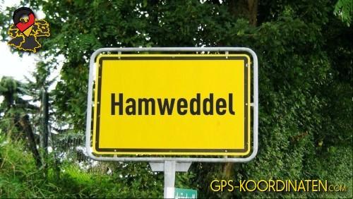 Ortseingangsschilder von Hamweddel {von GPS-Koordinaten|mit GPS-Koordinaten.com|und Breiten- und Längengrad