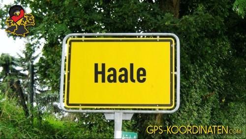 Einfahrtsschild Haale {von GPS-Koordinaten|mit GPS-Koordinaten.com|und Breiten- und Längengrad