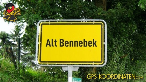Ortseingangsschilder von Alt Bennebek {von GPS-Koordinaten mit GPS-Koordinaten.com und Breiten- und Längengrad